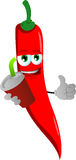 Red hot chili pepper holding soda and showing thumb up sign Royalty Free Stock Image