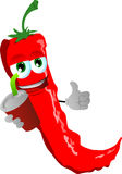 Red hot chili pepper holding soda and showing thumb up sign Royalty Free Stock Photography