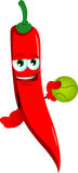 Red hot chili pepper holding a tennis ball Stock Image