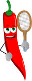 Red hot chili pepper holding a tennis rocket Stock Images