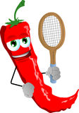 Red hot chili pepper holding a tennis rocket Stock Photos