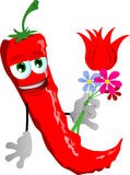 Red hot chili pepper holding tulip and other flowers Royalty Free Stock Photo