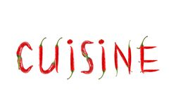 Red hot chili pepper isolated, word cuisine Royalty Free Stock Image