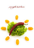 Red hot chili pepper, lettuce and cherry tomatoes Royalty Free Stock Photo