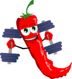 Red hot chili pepper lifting weight Royalty Free Stock Photography