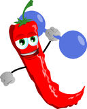 Red hot chili pepper lifting weight Royalty Free Stock Photos