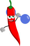Red hot chili pepper lifting weight Stock Image