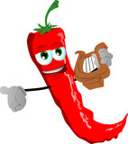 Red hot chili pepper with lyre Royalty Free Stock Image