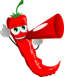 Red hot chili pepper with megaphone Royalty Free Stock Image