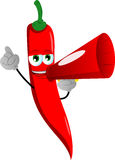 Red hot chili pepper with megaphone Stock Images