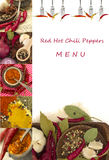 Red hot chili pepper menu Stock Images