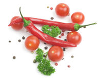 Red hot chili pepper and parsley Stock Photo