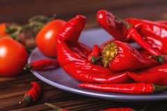 Red hot chili pepper pickled with tomatoes in plate Royalty Free Stock Photo
