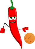 Red hot chili pepper playing basketball Stock Images