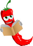 Red hot chili pepper reading Stock Photography
