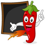 Red Hot Chili Pepper Recipe Blackboard. A fiery cartoon red hot chili pepper character with a blank blackboard, useful as recipe or menu, isolated on white Stock Photo