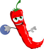 Red hot chili pepper rolling a bowling ball Royalty Free Stock Photos