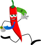 Red hot chili pepper running with money Stock Photo