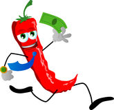 Red hot chili pepper running with money Stock Photography