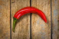 Red Hot Chili Pepper on Rustic Table Stock Photography