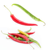 Red hot chili pepper set isolated Stock Photo