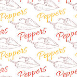 Red hot chili pepper sketch drawing illustration. Seamless pattern. Spicy background Royalty Free Stock Photography
