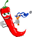 Red hot chili pepper with a slingshot Royalty Free Stock Images