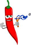 Red hot chili pepper with a slingshot Royalty Free Stock Photos