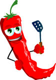 Red hot chili pepper with a spatula Royalty Free Stock Photos