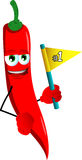 Red hot chili pepper sports fan with flag Royalty Free Stock Photo