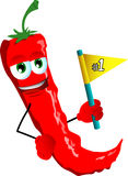Red hot chili pepper sports fan with flag Royalty Free Stock Images