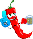 Red hot chili pepper sports fan with glove and beer Royalty Free Stock Photography