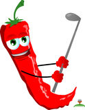 Red hot chili pepper swinging his golf club Royalty Free Stock Images