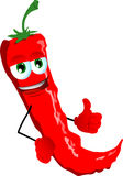 Red hot chili pepper with thumb up Stock Photo