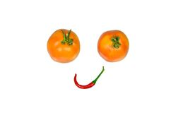 Red hot chili pepper and tomatoes Royalty Free Stock Photos