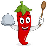Red Hot Chili Pepper with Tray and Spoon. A happy cartoon red hot chili pepper character with a wooden spoon and a tray in his hands, isolated on white Royalty Free Stock Image