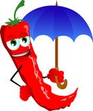 Red hot chili pepper with umbrella Stock Photos