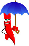 Red hot chili pepper with umbrella Royalty Free Stock Photography