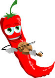 Red hot chili pepper with violin Royalty Free Stock Photography