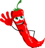Red hot chili pepper waving hand Royalty Free Stock Photography
