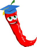 Red hot chili pepper wearing graduation cap Royalty Free Stock Photo