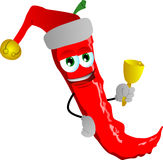 Red hot chili pepper wearing Santa's hat and playing bell Royalty Free Stock Photography