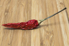 Red hot chili pepper on wood background.  Royalty Free Stock Photo