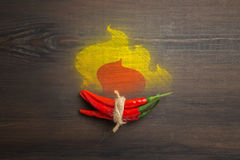 Red hot chili pepper on wood background Royalty Free Stock Images