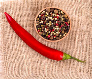 Red hot chili pepper on wooden bagging backround Stock Image