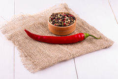 Red hot chili pepper on wooden bagging backround Royalty Free Stock Images