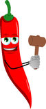 Red hot chili pepper with a wooden hammer Stock Image