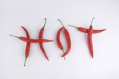 Red hot chili peppers. On white background Royalty Free Stock Images