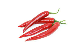 Red hot chili peppers. Isolated on white background Stock Photo
