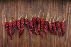 Red hot chili peppers. Red hot peppers are laid out in a row on a table made of wood Royalty Free Stock Photo